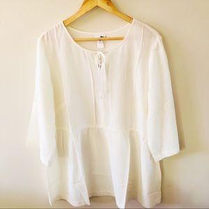 J. Jill 100% Silk Off White Blouse
